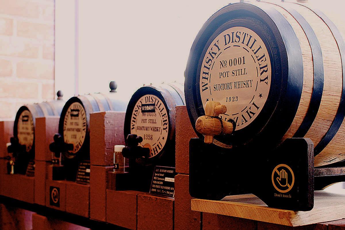 Aromatic white oak barrel lineup